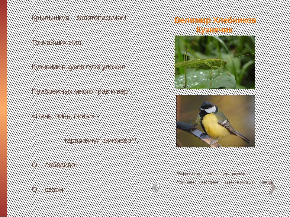 Велимир Хлебников Кузнечик *Веры (устар.) – разные виды насекомых. **Зинзивер...