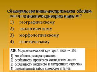 К какому критерию вида относят область распространения северного оленя? 1) г