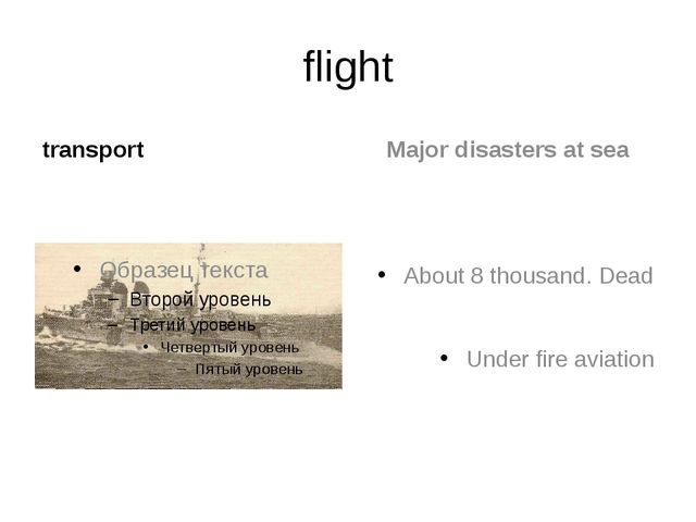 flight transport Major disasters at sea About 8 thousand. Dead Under fire avi...