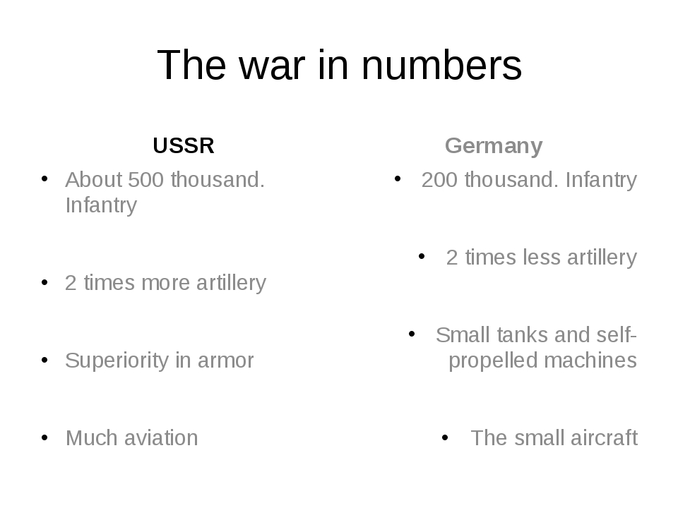 The war in numbers USSR About 500 thousand. Infantry 2 times more artillery S...