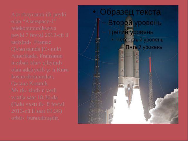 "Azərbaycanın ilk peyki olan ""Azerspace-1"" telekommunikasiya peyki 7 fevral 20..."