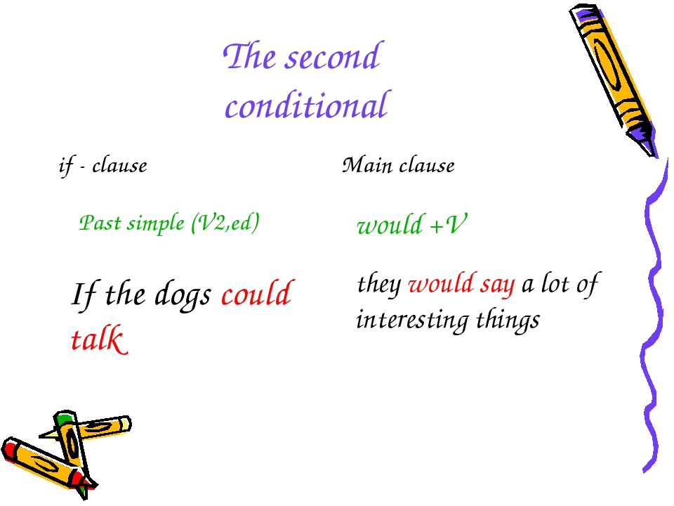 The second conditional Past simple (V2,ed) would +V If the dogs could talk th...