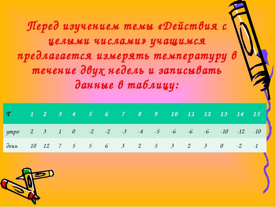 Перед изучением темы «Действия с целыми числами» учащимся предлагается измеря...