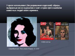 Уорхол использовал (без разрешения издателей) образы, выбранные им из журнало