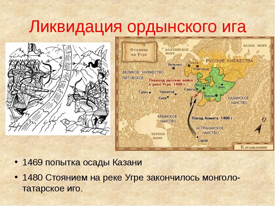 Ликвидация ордынского ига 1469 попытка осады Казани 1480 Стоянием на реке Угр...