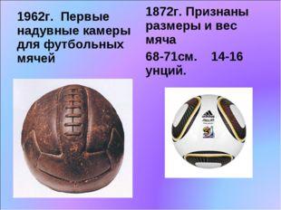 1962г. Первые надувные камеры для футбольных мячей 1872г. Признаны размеры и