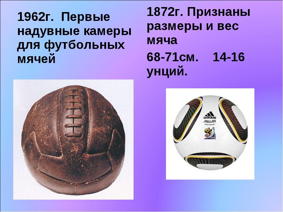 1962г. Первые надувные камеры для футбольных мячей 1872г. Признаны размеры и...