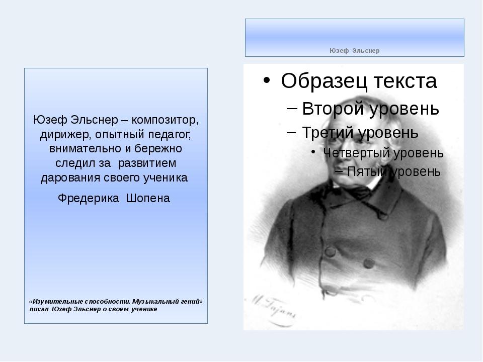 Юзеф Эльснер Юзеф Эльснер – композитор, дирижер, опытный педагог, внимательн...