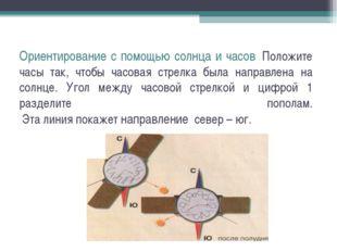 Ориентирование с помощью солнца и часов Положите часы так, чтобы часовая стр