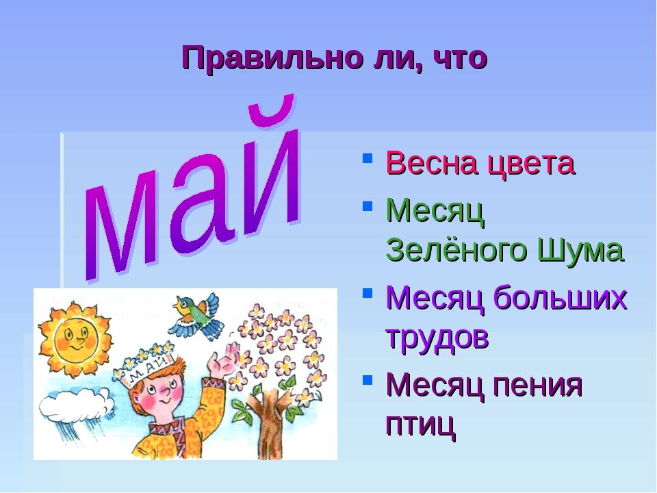 Правильно ли, что Весна цвета Месяц Зелёного Шума Месяц больших трудов Месяц...