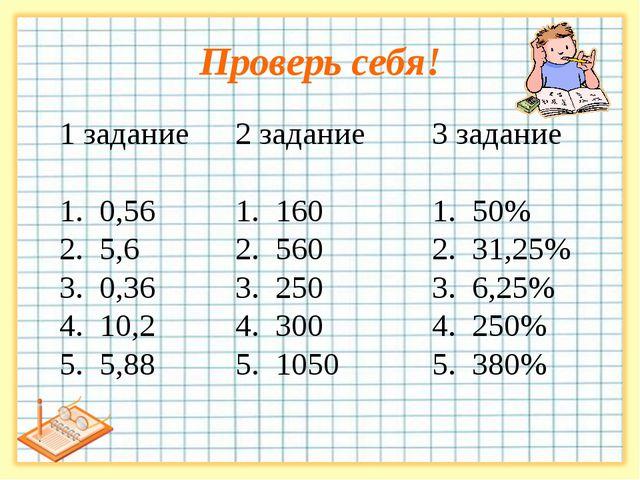 Проверь себя! 3 задание 1. 50% 2. 31,25% 3. 6,25% 4. 250% 5. 380% 2 задание 1...