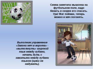 Симка заметила мышонка на футбольном поле, надо бежать и скорее его спасать.