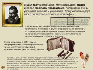В 1614 году шотландский математик Джон Непер изобрел таблицы логарифмов. Лога