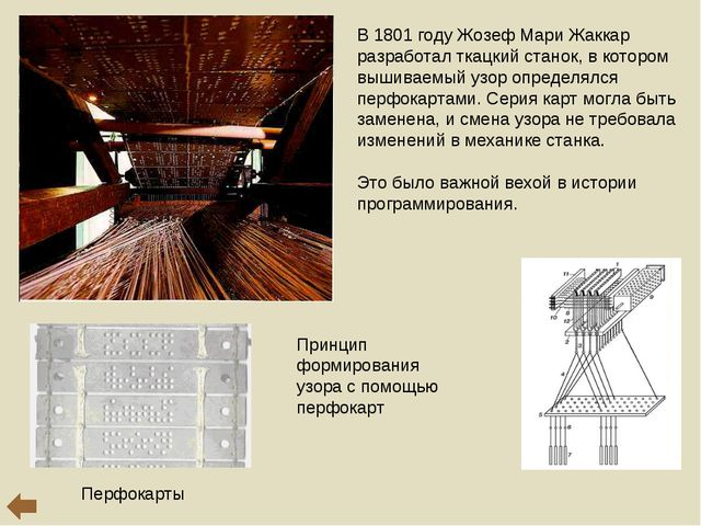 В 1801 году Жозеф Мари Жаккар разработал ткацкий станок, в котором вышиваемый...