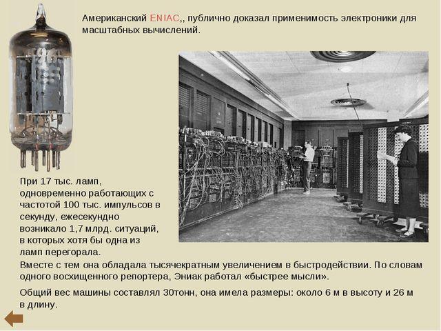 Американский ENIAC,, публично доказал применимость электроники для масштабных...