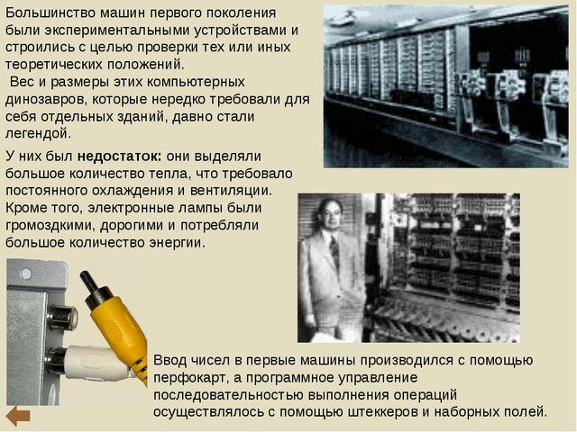 Ввод чисел в первые машины производился с помощью перфокарт, а программное уп...