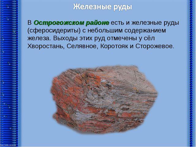 В Острогожском районе есть и железные руды (сферосидериты) с небольшим содерж...