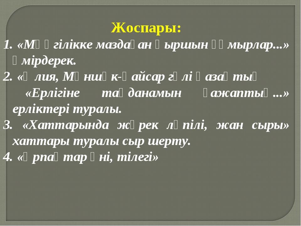 Жоспары: 1. «Мәңгілікке маздаған қыршын ғұмырлар...» өмірдерек. 2. «Әлия, Мән...