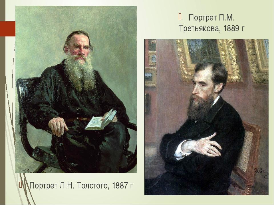 Портрет П.М. Третьякова, 1889 г Портрет Л.Н. Толстого, 1887 г