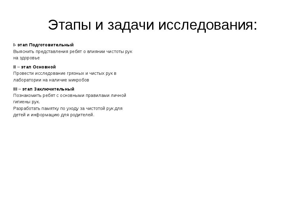 Этапы и задачи исследования: I- этап Подготовительный Выяснить представления...