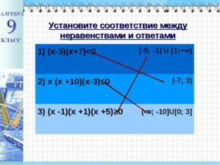 Установите соответствие между неравенствами и ответами 1) (х-3)(х+7)