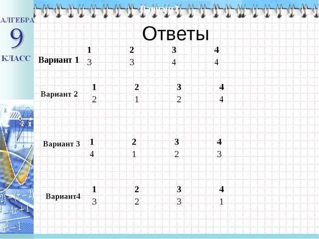 Ответы Вариант 1 Вариант1 Вариант2 Вариант 2 Вариант 3 Вариант4 1234 334...