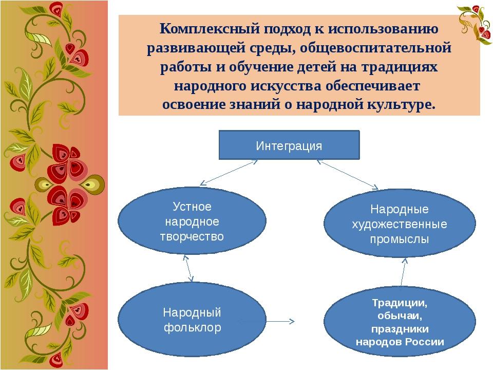 Комплексный подход к использованию развивающей среды, общевоспитательной рабо...