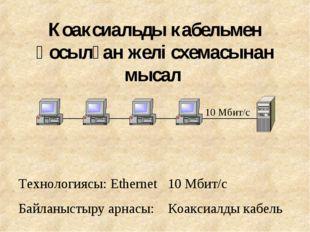 Коаксиальды кабельмен қосылған желі схемасынан мысал Технологиясы: Ethernet 1