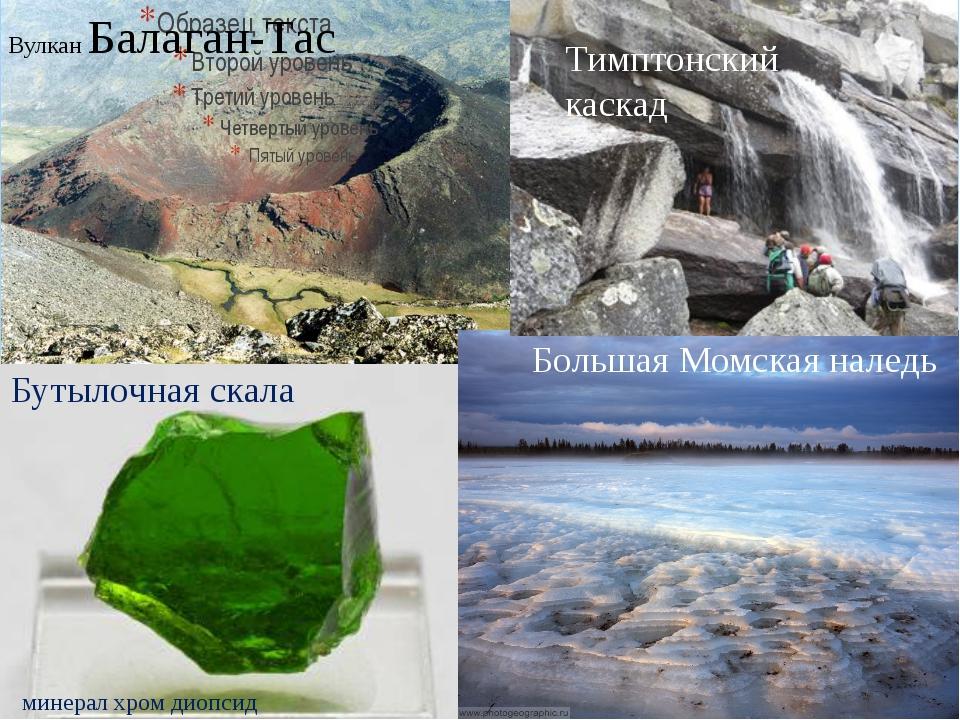 Вулкан Балаган-Тас Большая Момская наледь Тимптонский каскад Бутылочная скала...