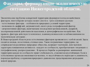 Факторы, формирующие экологическую ситуацию Нижегородской области. Экологичес
