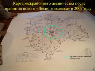 Карта межрайонного лесничества после принятия нового «Лесного кодекса» в 2007