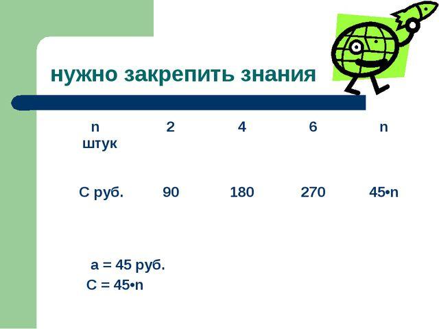 нужно закрепить знания a = 45 руб. С = 45•n