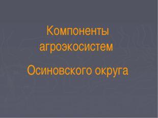 Компоненты агроэкосистем Осиновского округа