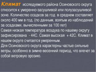 Климат исследуемого района Осиновского округа относится к умеренно-засушливой