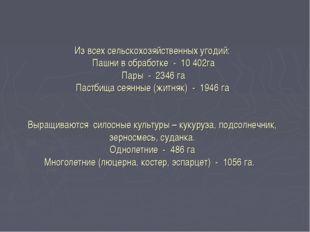 Из всех сельскохозяйственных угодий: Пашни в обработке - 10 402га Пары - 2346