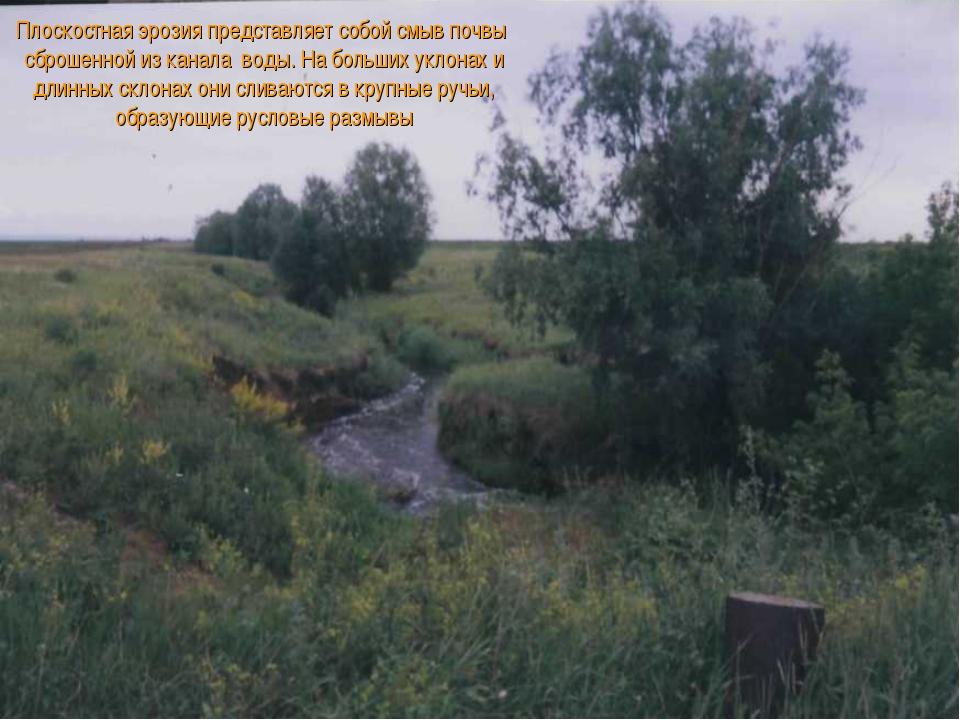 Плоскостная эрозия представляет собой смыв почвы сброшенной из канала воды. Н...