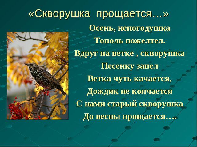«Скворушка прощается…» Осень, непогодушка Тополь пожелтел. Вдруг на ветке , с...