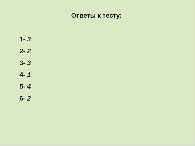 Ответы к тесту: 1- 3 2- 2 3- 3 4- 1 5- 4 6- 2