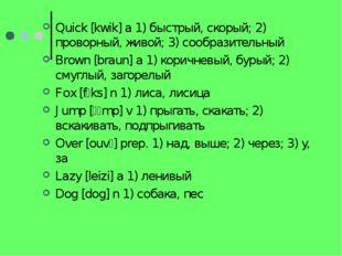 Quick [kwik] a 1) быстрый, скорый; 2) проворный, живой; 3) сообразительный Br