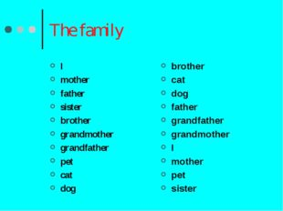 The family I mother father sister brother grandmother grandfather pet cat dog