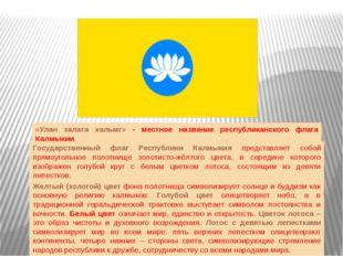 Государственный флаг Республики Калмыкия представляет собой прямоугольное пол