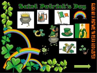 horseshoe Pot of gold rainbow beer Irish flag Saint Patrick hat shamrock harp