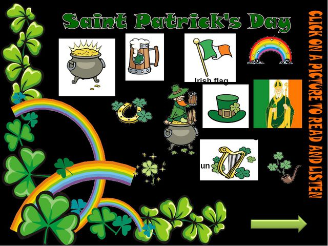 horseshoe Pot of gold rainbow beer Irish flag Saint Patrick hat shamrock harp...