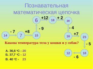 12 Познавательная математическая цепочка 14 7 15 6 18 20 16 23 18 - 7 +8 - 9