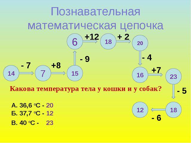 12 Познавательная математическая цепочка 14 7 15 6 18 20 16 23 18 - 7 +8 - 9...
