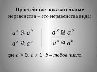Простейшие показательные неравенства – это неравенства вида: где a > 0, a 