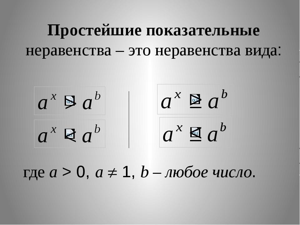 Простейшие показательные неравенства – это неравенства вида: где a > 0, a ...