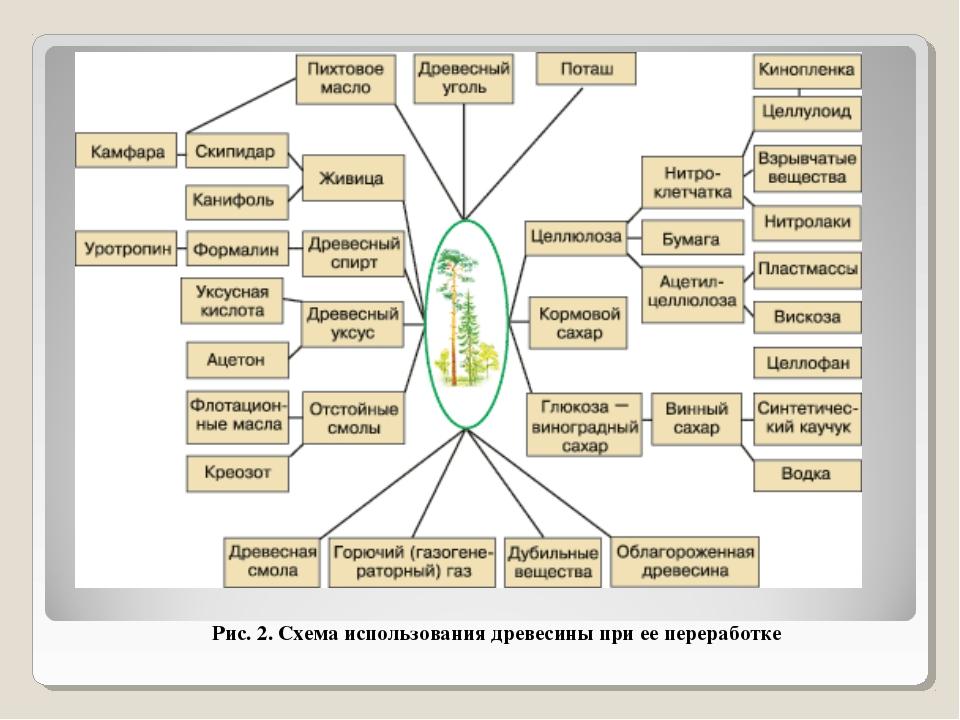 Рис. 2. Схема использования древесины при ее переработке
