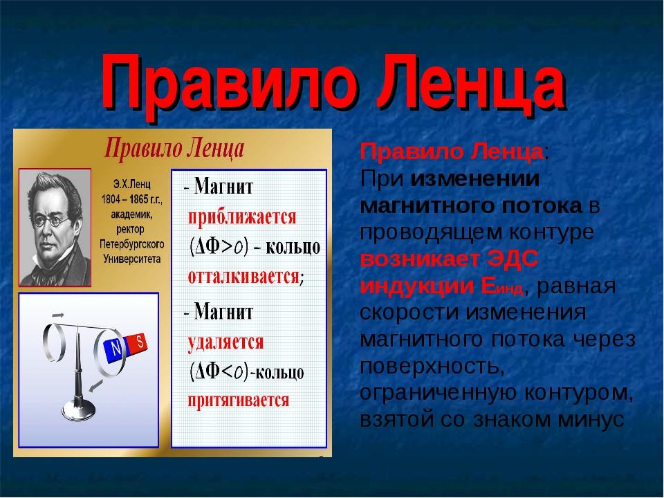 Правило Ленца Правило Ленца: При изменении магнитного потока в проводящем кон...