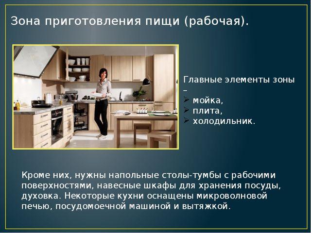 Зона приготовления пищи (рабочая). Главные элементы зоны – мойка, плита, холо...